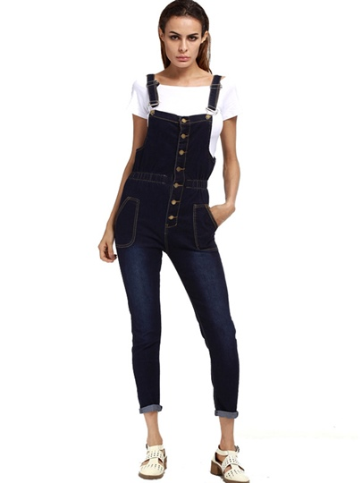 Normcore Slim Pocket High Waisted Denim Women's Overall