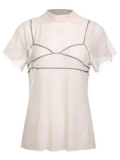 Plain Sheer Short Sleeve Women's Blouse