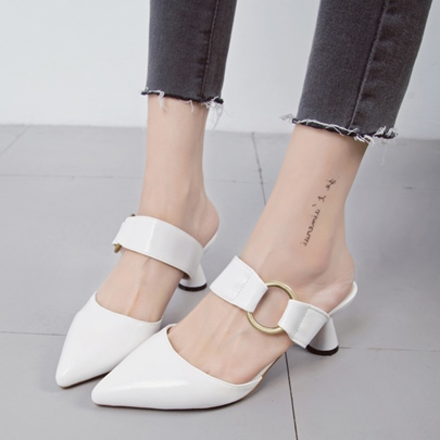 Circle Embellishments Slip On Women's Mule Shoes