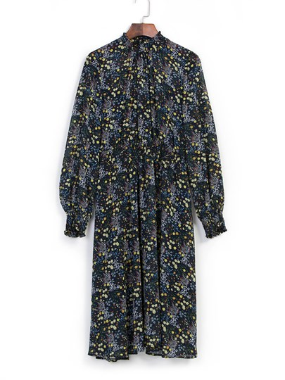 Lantern Sleeve Floral Print Maxi Dress