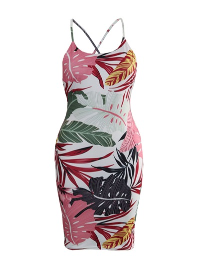 Printing Strappy Women's Party Dress