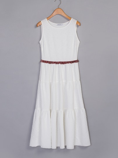 White Round Neck A-Line Day Dress