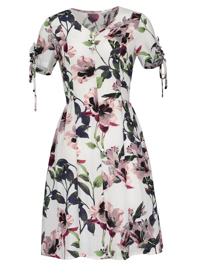 Floral Print Button Tie Sleeve Day Dress