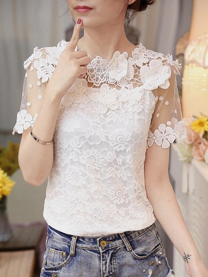 Boat Neck Mesh And Lace Patchwork Women's Blouse