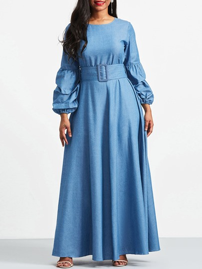 Round Neck Band Waist A-Line Women's Maxi Dress