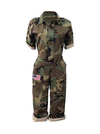 Camo Print Pocket Women's Jumpsuit