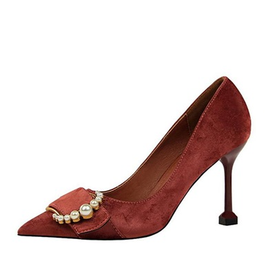 Suede Beads Buckle Pointed Toe Women's Pumps