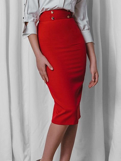 Plain Button Bodycon Slim Fit Women's Skirts