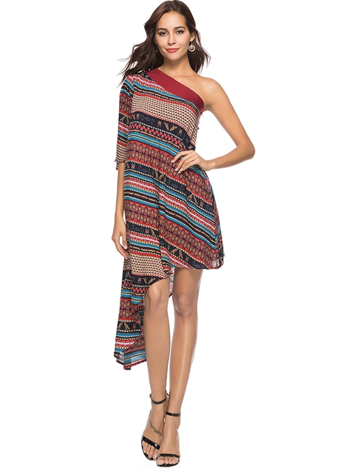 Summer One-Shoulder Print Women's Maxi Dress