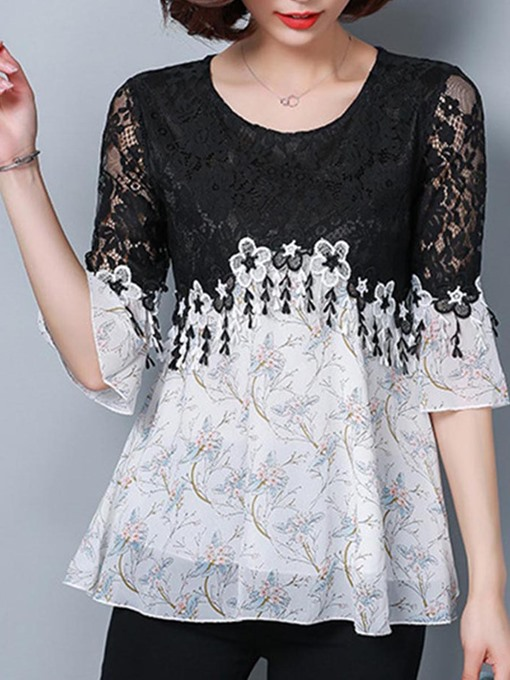 Color Block Lace Chiffon Patchwork Bell Sleeve Blouse