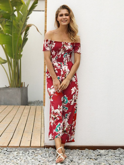 Floral Print Loose High Waist Women's Jumpsuit