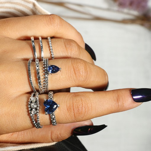 Sapphire-Shaped Combination Ring Sets