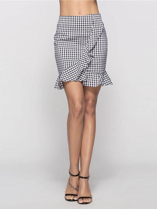 Plaid Ruffled Women's Mini Skirt
