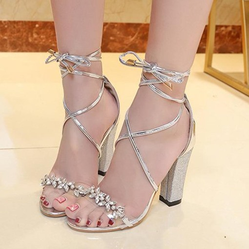 Rhinestone Shoes Sequins Chunky Heel Tie Up Sandals for Women