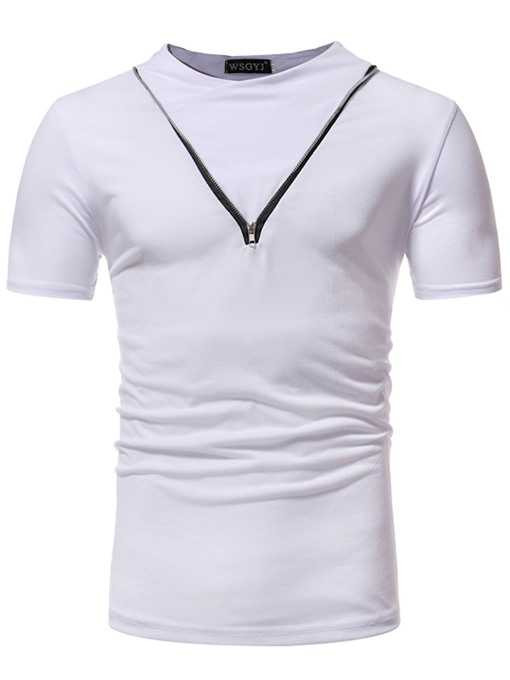 Stand Collar Zipper Slim Fit Men's T-Shirt