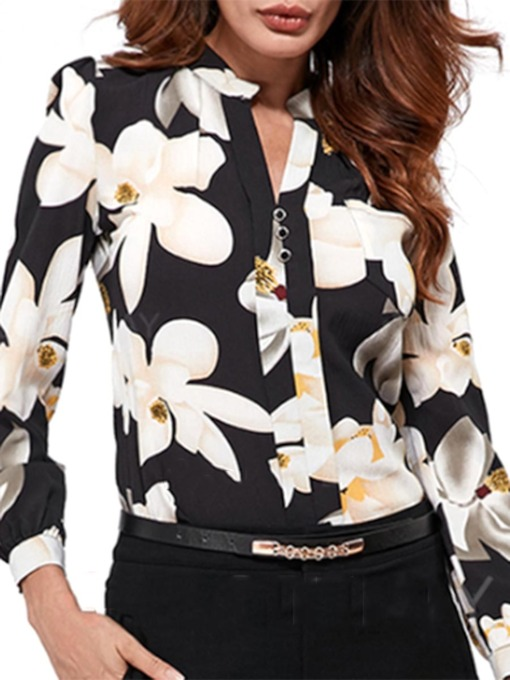 Floral Print Slim Fit Chiffon Women's Shirt