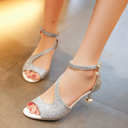 Sequins Peep Toe Shoes Buckle High Heel Sandals