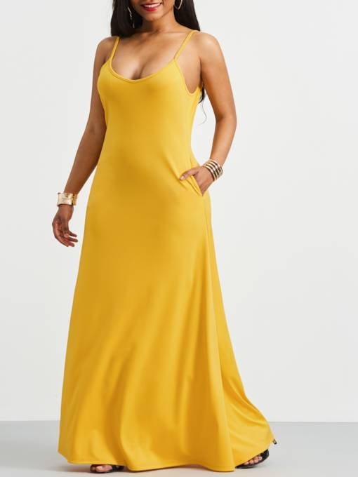 Yellow Spaghetti Strap Backless Maxi Dress