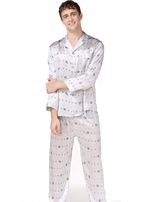 Print Letter Nine Points Sleeve Sleep Bottom Men's Pajamas Sets