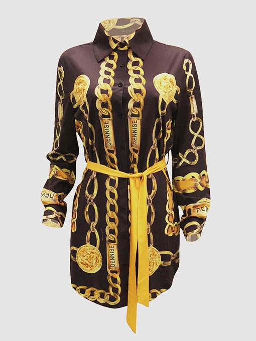 Lapel Lace up Printing Women's Long Sleeve Dress