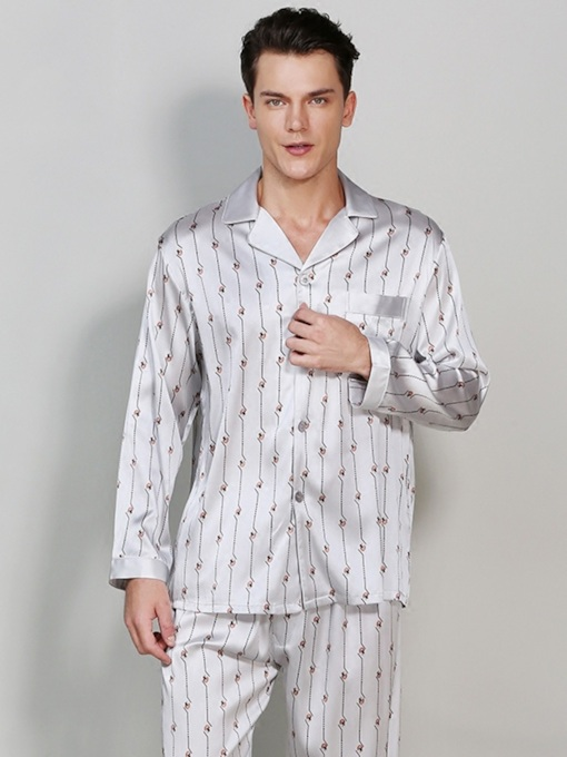 Long Sleeve Stripe Print Silk Men's Pajamas Sets