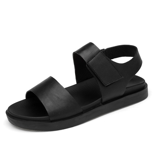 Plain Black Velcro Men's Summer Sandals