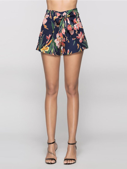 Floral Print High Waist Women's Shorts