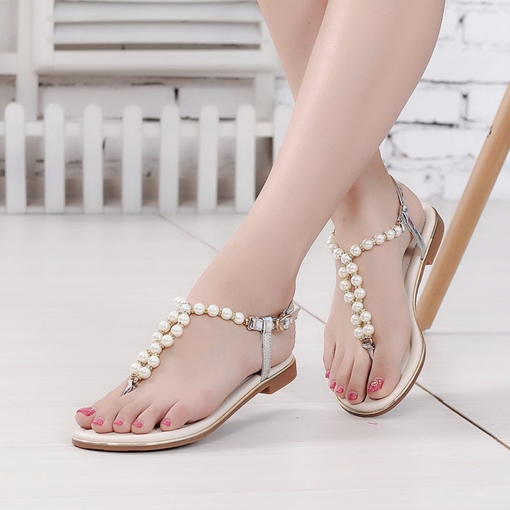 Pearl Buckle Flat Thong Sandals for Women
