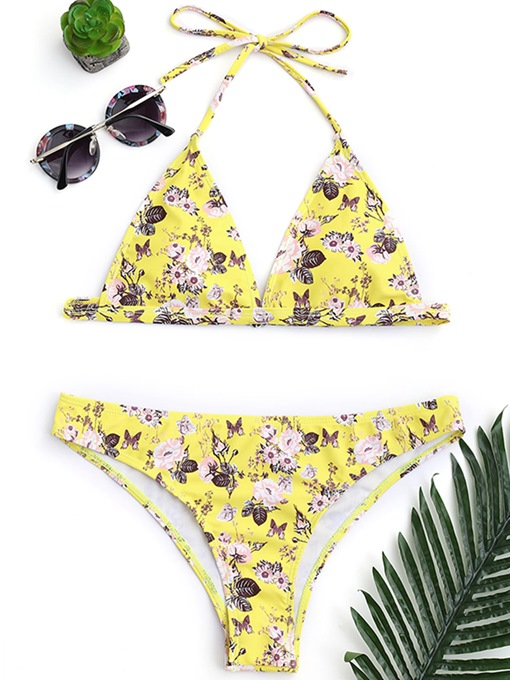 Floral Halter Lace Up Bikini Set