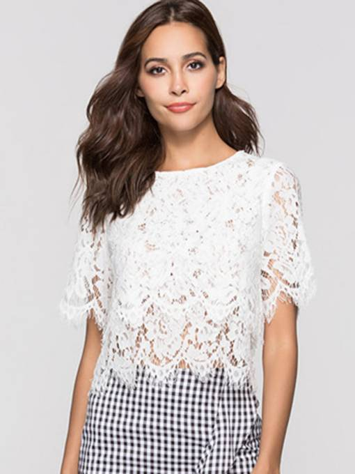 Sheer Lace Hollow Out Short Sleeve Women's Blouse