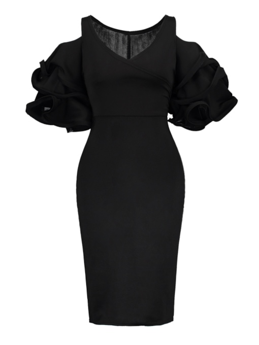 Black Ruffle Sleeve V-Neck Bodycon Dress