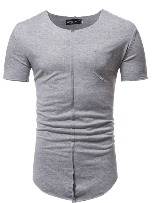 Round Collar Plain Solid Color Men's T-Shirt