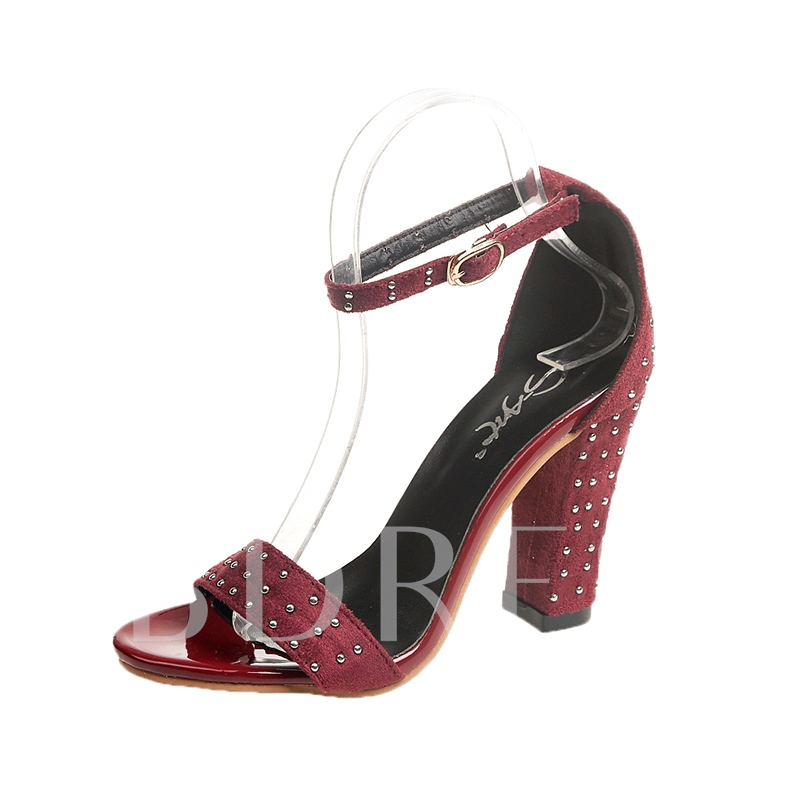Suede Chunky Heel Shoes Rivet Sandals for Women