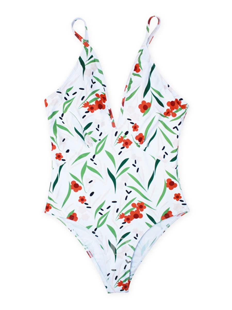 White Floral One Piece Bathing Suits