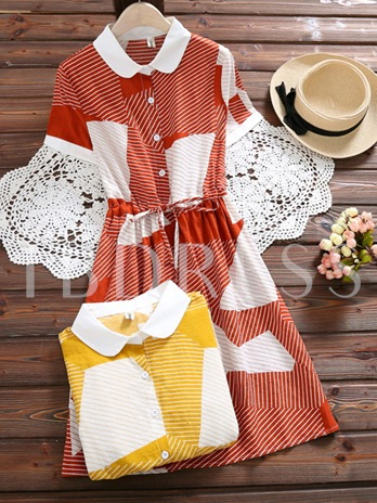 Color Block Lace up Women's Day Dress