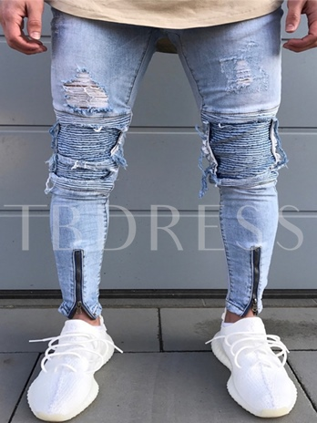 Worn Zipper Decorated Patchwork Men's Jeans