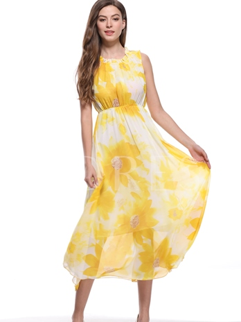 Summer Floral Print High Waist Maxi Dress