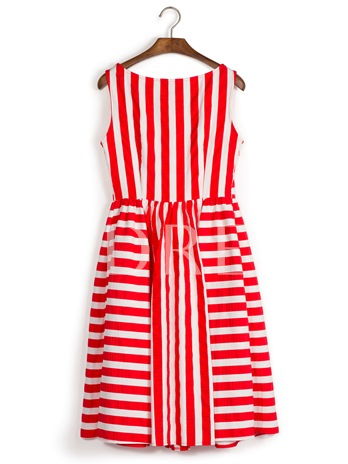 Red Strip Back Zipper Sleeveless Day Dress