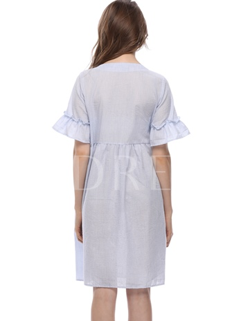 Round Neck Embroidery Floral Button Day Dress