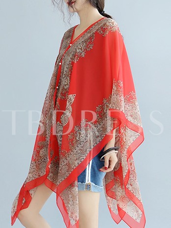 Sheer Mixed Print Mid Length Cape For Women