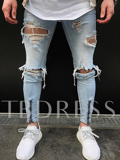 Hole Worn Zipper Slim Fit Men's Jeans