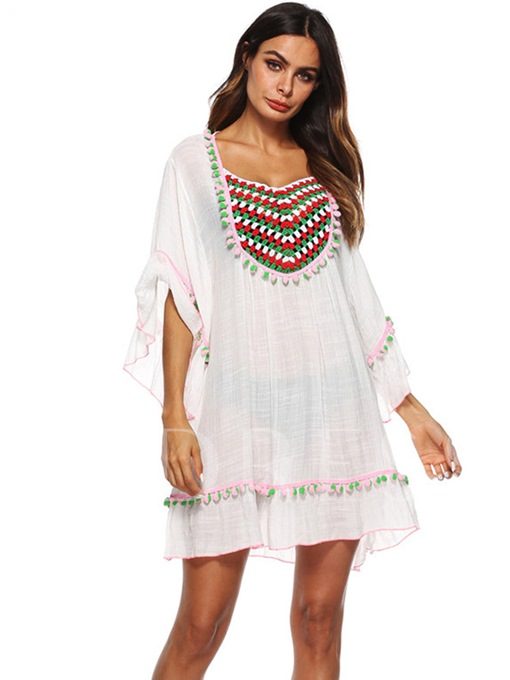 Summer White A-Line Embroider Day Dress