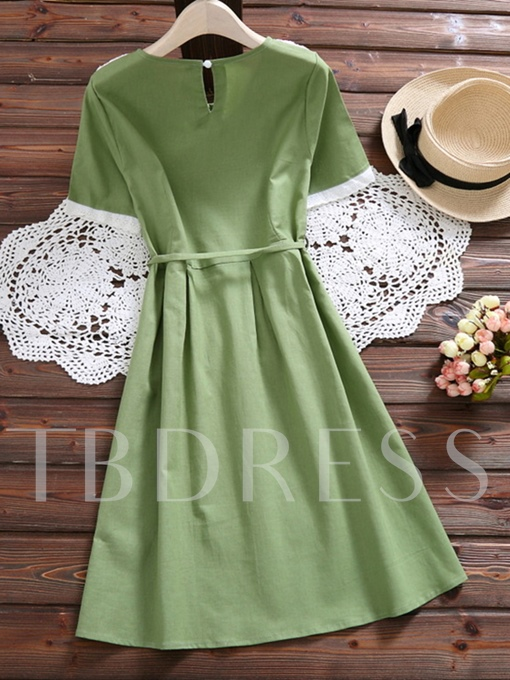 Green Short Sleeve Lace Patchwork Women's Day Dress