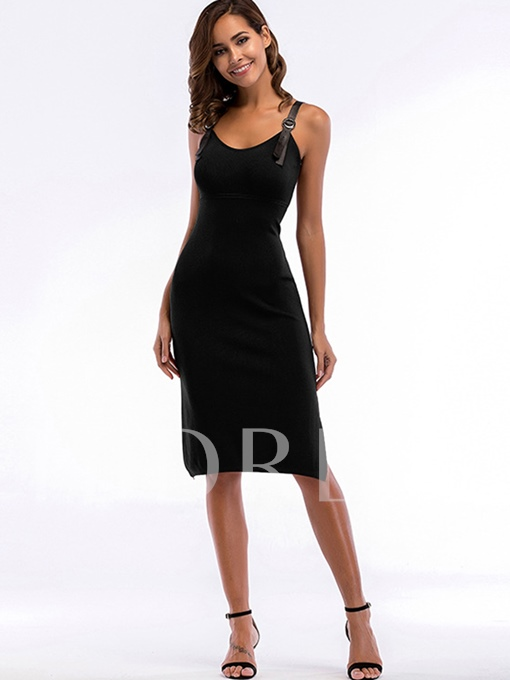 V-Neck High Split Plain Party Dress