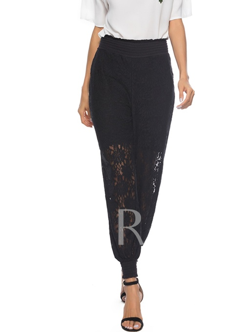 Lace Hollow High Waist Women's Pants