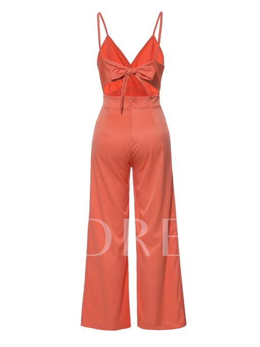 Plain Hollow Backless Cami Women's Jumpsuit