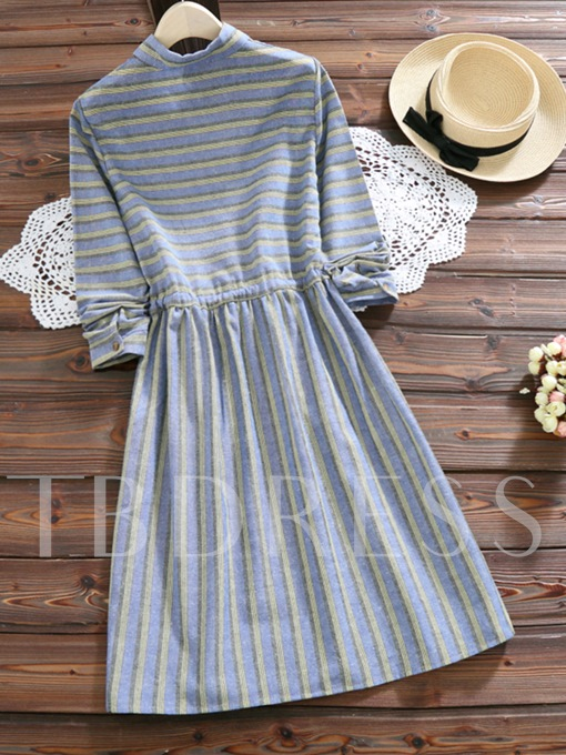 Striped Lace up Lapel Women's Day Dress