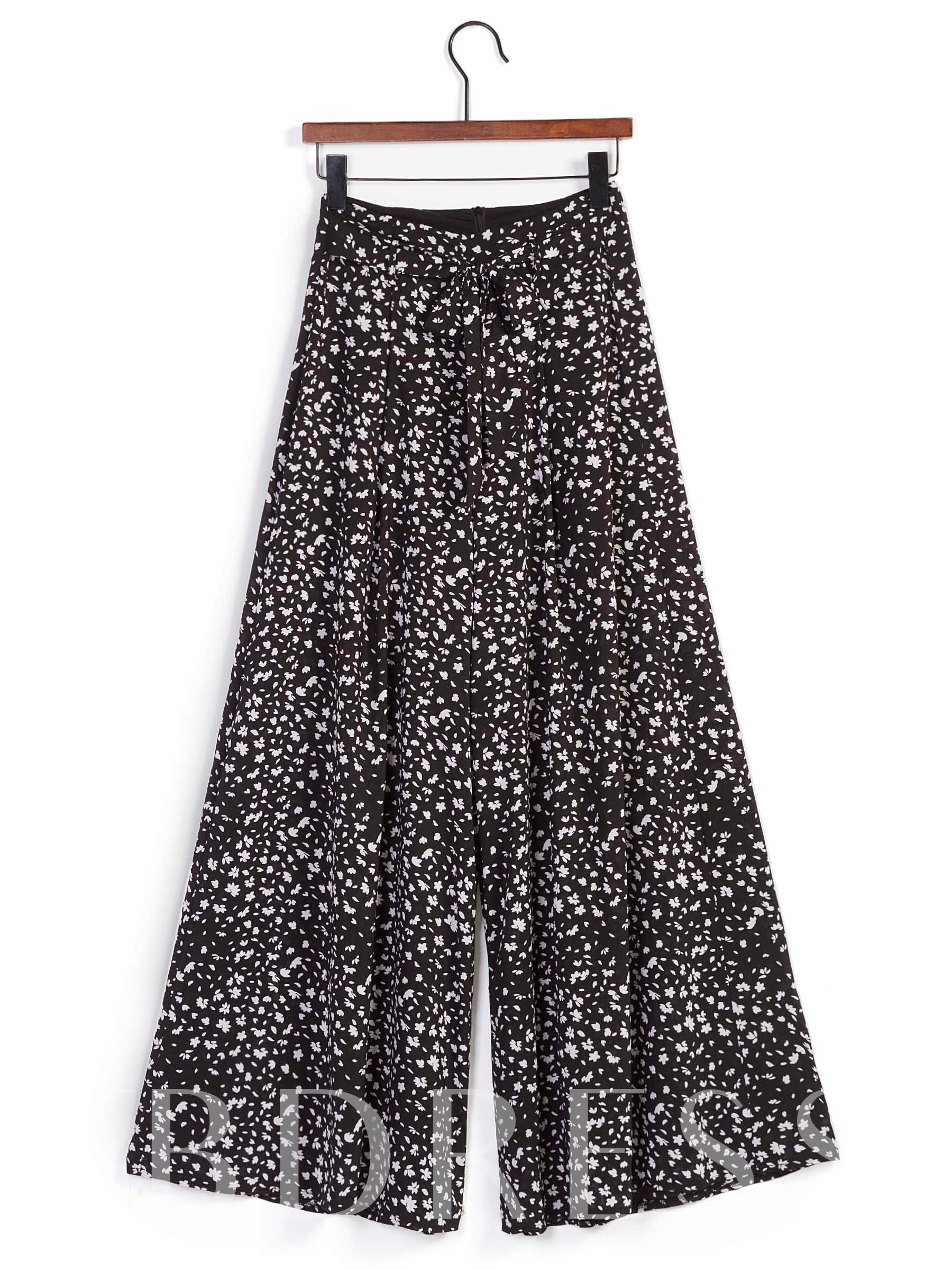 Buy Floral Print Loose Wide Legs Women's Casual Pants, Summer, 13263716 for $14.71 in TBDress store