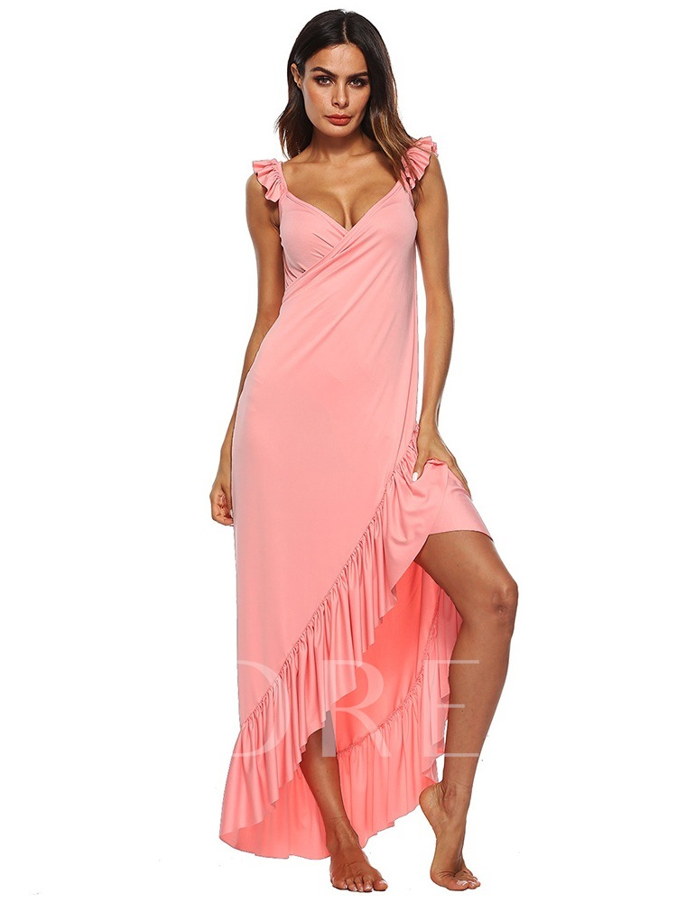Asymmetric Sleeveless V-Neck Women's Maxi Dress
