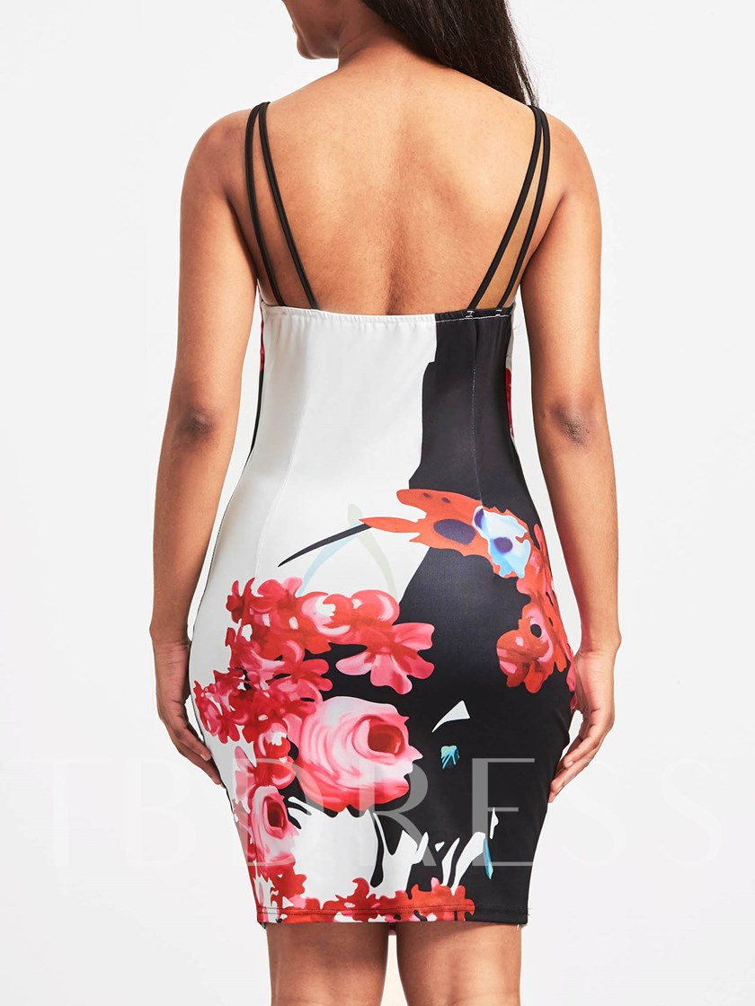 Strappy Printing Women's Party Dress